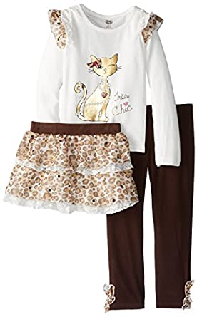 Young Hearts Girls 2-6X 3 Piece Tres Chic Legging Skirt Set, Light Beige, 2T