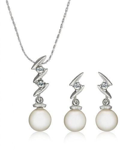 Eclat Rhodium Brass Alloy Pendant Set For Women(613126R)