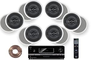 "Sony HD Digital Cinematic Sound 700 Watts 7.1 Channel 3D A/V Receiver + Yamaha Natural Sound Custom Install In-Ceiling 3-Way 100 watts Speaker (Set of 6) with Dual Tweeters & 6-1/2"" Woofer + 100ft 16 AWG Speaker Wire from Yamaha + Sony"