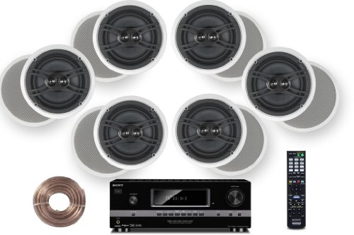 "Sony Hd Digital Cinematic Sound 700 Watts 7.1 Channel 3D A/V Receiver + Yamaha Natural Sound Custom Install In-Ceiling 3-Way 100 Watts Speaker (Set Of 6) With Dual Tweeters & 6-1/2"" Woofer + 100Ft 16 Awg Speaker Wire"
