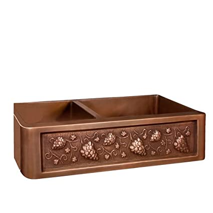 "Barclay FSCDB3506-SAC Concord 33"" Offset Double Bowl Copper Farmer Sink"