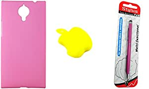FCS Rubberised Hard Back Case For Gionee Elife E7 With Card Reader And Capacitive Touch Screen Stylus Pen