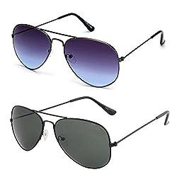 Rhodopsin UV Protected Grey Blue Aviator and Black Aviator Sunglasses (Combo_Grey_Blue_Black_Aviator)