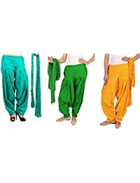 Rama Full Patiala Salwars With Dupattas Combo Of 3 (Yellow, Lime Green, Light Green_Free Size)