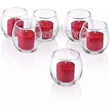 Clear Glass Hurricane Votive Candle Holders With Red Votive Candles Burn 10 Hours Set Of 36 By Light In The Dark