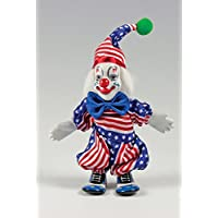Clown Figurine - Stars & Stripes USA, Hand-Painted, Posable, Porcelain, 7 Inch