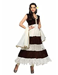 Trendz Apparels White And Brown Net Brasso And Velvet Anarkali Suit Salwar Suit