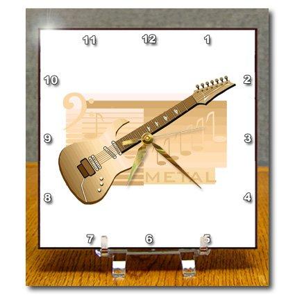 Dc_175902_1 Susans Zoo Crew Music Instrument Guitar - Electric Guitar Metal Orange - Desk Clocks - 6X6 Desk Clock