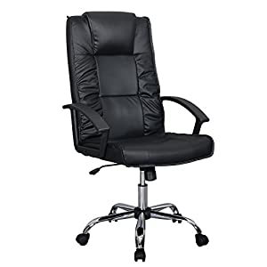 Black PU Leather Ergonomic High Back Executive Best Desk Task Office Chair