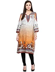 Patangaa Orange And Grey Cotton Jute Printed Kurti For Women