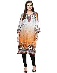 Patangaa Orange And Grey Cotton Jute Printed Kurti For Women
