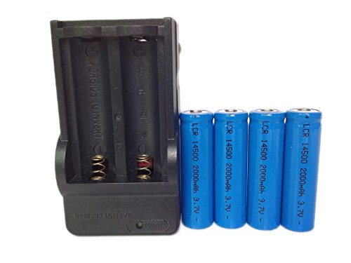 ON THE WAY®Charger and 4Pcs 14500 2000mAh 3.7V Li-ion Lithium Rechargeable Battery AA Batteries For Cree Led Flashlight Torch(Blue)