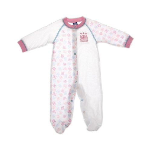 Manchester City Football Club Baby Girls Sleepsuit (White/Pink, 9 to 12 Months)