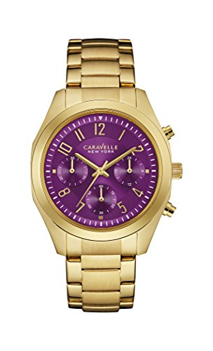 Caravelle New York Melissa Women's Quartz Watch with Purple Dial Chronograph Display and Yellow Gold Bracelet 44L200