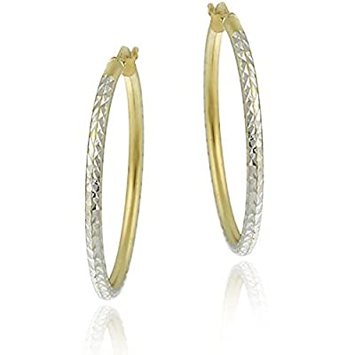 22k Yellow Gold and Sterling Silver 30mm Diamond-Cut Hoop Earrings