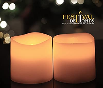 "Battery Operated Candles By Festival Delights® - 3.125""x3"" - 2 Pcs Unscented Flameless Candles, LED Candles, Flameless Candle Set, Votive Candles, Decorations, Wedding Favors, Souvenirs, Centerpieces, Valentines Day Gifts,valentine Day Gifts, Valentines D"
