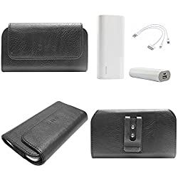 DMG Durable Cell Phone Pouch Carrying Case with Belt Clip Holster for Samsung Galaxy V Plus (Black) + 3600 mAh Power Bank