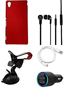 NIROSHA Cover Case Car Charger Headphone USB Cable Mobile Holder for Sony Experia M4 - Combo