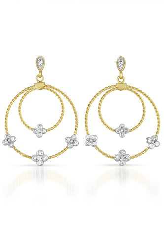 Cubic Zirconia and Sterling Silver Tow Tone Round Drop Earrngs