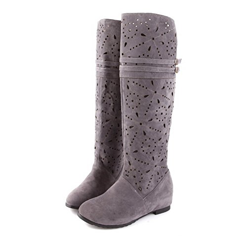 Beanfashion Womens Closed Round Toe Kitten Heels Solid Pu Frosted Boots With Hollow Out, Gray, 43
