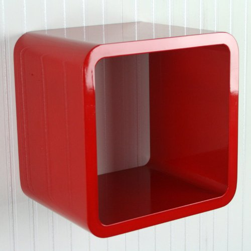 Homestyle4u Retro Cube Design Wandregal Wandboard Regal Würfel 1er rot
