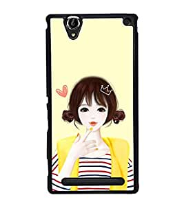 Cute Anime Girl 2D Hard Polycarbonate Designer Back Case Cover for Sony Xperia T2 Ultra :: Sony Xperia T2 Ultra Dual SIM D5322 :: Sony Xperia T2 Ultra XM50h