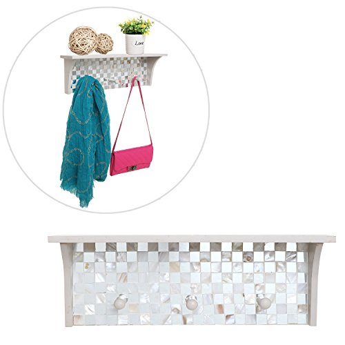 Decorative Mosaic Tile Design White Wood Floating Organizer Display Rack Shelf w/ 3 Storage Coat Hooks