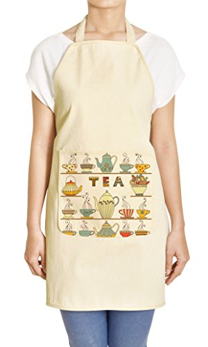 Vietsbay's Cups & Teapots 100% Printed Canvas Apron APR (Teapot Apron compare prices)
