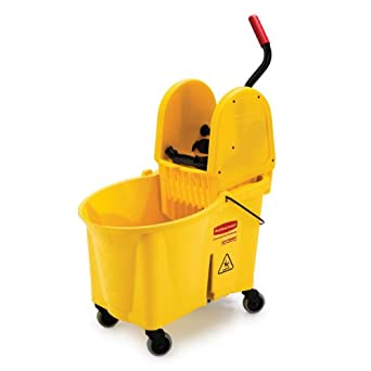 Rubbermaid Commercial WaveBrake 44-Quart Bucket/Downward Pressure Wringer Combination, Yellow (757688YW)