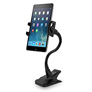 Macally Flexible and Adjustable Gooseneck Clip On Desk or Kitchen Table Holder Clamp Mount for iPad, iPhone, Tablets and Smartphones (ClipMount)