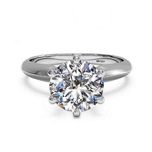 Solitario 2kt D/VVS taglio brillante rotondo diamante anello donna anniversario matrimonio fidanzamento in oro bianco massiccio 14K, taglia: