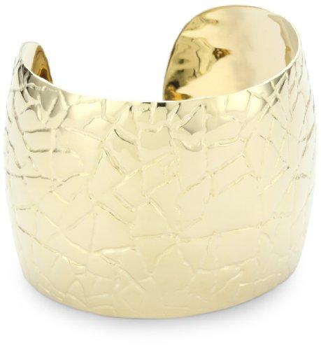 GALA by Daniela Swaebe Crocodile Yellow Gold Wide Cuff Bracelet