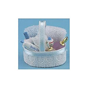 Dollhouse bath accessory basket in pink blue for Pink and blue bathroom accessories