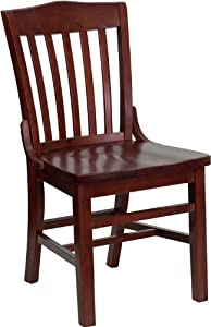 Flash Furniture XU-DG-W0006-MAH-GG Hercules Series Mahogany Finished School House Back Wooden Restaurant Chair