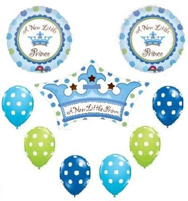 IT'S A BOY Prince POLKA DOT Baby SHOWER 9 Balloons SET