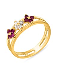 Mahi Ruby & CZ 24K Gold Plated Fashion Finger Ring For Women FR1100319G