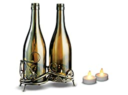 Vintage Wine Bottle Votive Candle Holder on Elegant Stand, Decorative Wedding Table Centerpiece Decor, Set of 2 Party Tealight Candles - Battery Operated