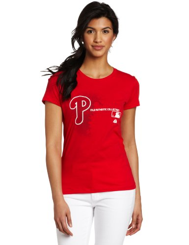 MLB Women's Philadelphia Phillies Authentic Collection Change Up Short Sleeve Crew Neck Tee by Majestic (Athletic Red, XX-Large) at Amazon.com