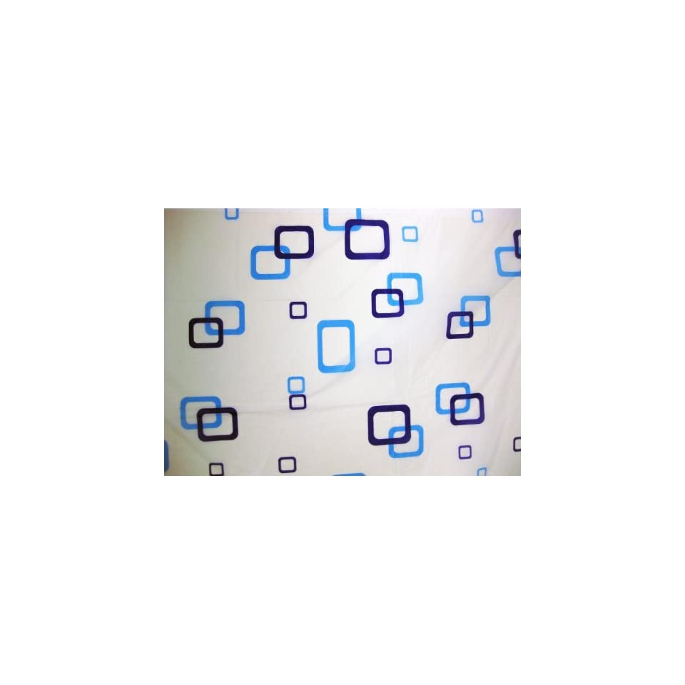 Blue Squares Shower Curtain Standard Size 72 x 72 Bath Set With Liner & Curtain Hooks