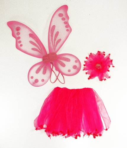 3 Piece Girls Pink Pixie Fairy Costume Wing Set with Wings, Tutu, Hair-tie (Pony-o). Select Color: Pink