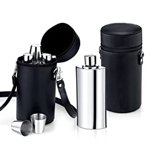 Wilouby Adult Travel Bar Set, includes 3x8 oz Flasks, 3x Cups in Leather Pouch by Wilouby