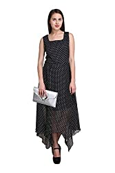 New Sierra Women Georgette long polka black square neck cut off dress
