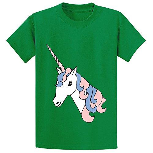 Likeu Unicorn White Cute Child Customized Crew Neck Tees Green (Razorback Cake Pan compare prices)