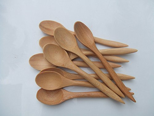 Set of 12 small natural Wooden Teaspoons Coffee Spoons, 5 inch long, light brown. (Spoon Neckless compare prices)
