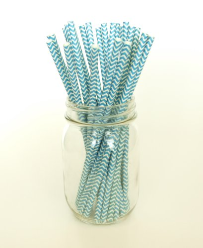 Aqua Blue Chevron Zigzag Straws - 25 - Teal Straws, Turquoise Party Paper Straws, Aqua Blue Chevron Straws
