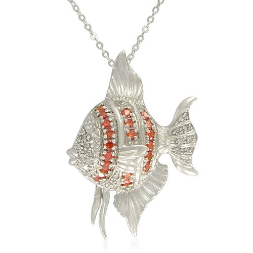Sterling Silver Round-Shaped Orange Color Cubic Zirconia Fish Pendant Necklace, 18.5