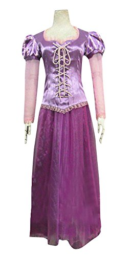 Women's Halloween Deluxe 1:1 Rapunzel Costume Outfit Princess Fancy Dress (XXL) (Tangled Rapunzel Dress)