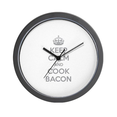 CafePress Keep calm and cook bacon Wall Clock
