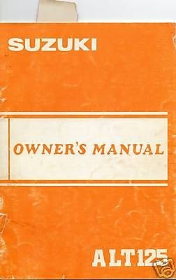 1983 Suzuki Atv 3 Wheeler Alt125 Owners Manual