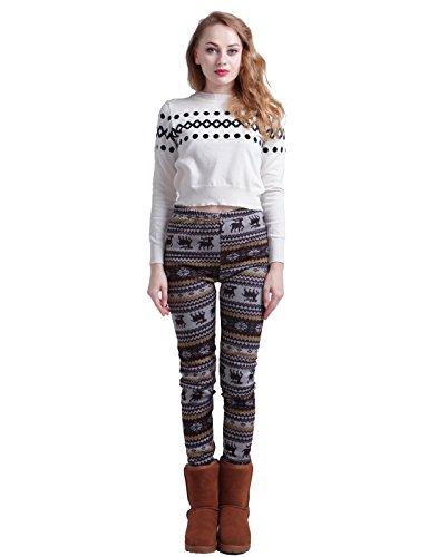 Hde Women Winter Knit Leggings Fleece Line Nordic Design
